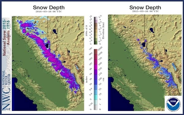 California snow depth on March 16, 2016 (left) and March 16, 2015 (right).