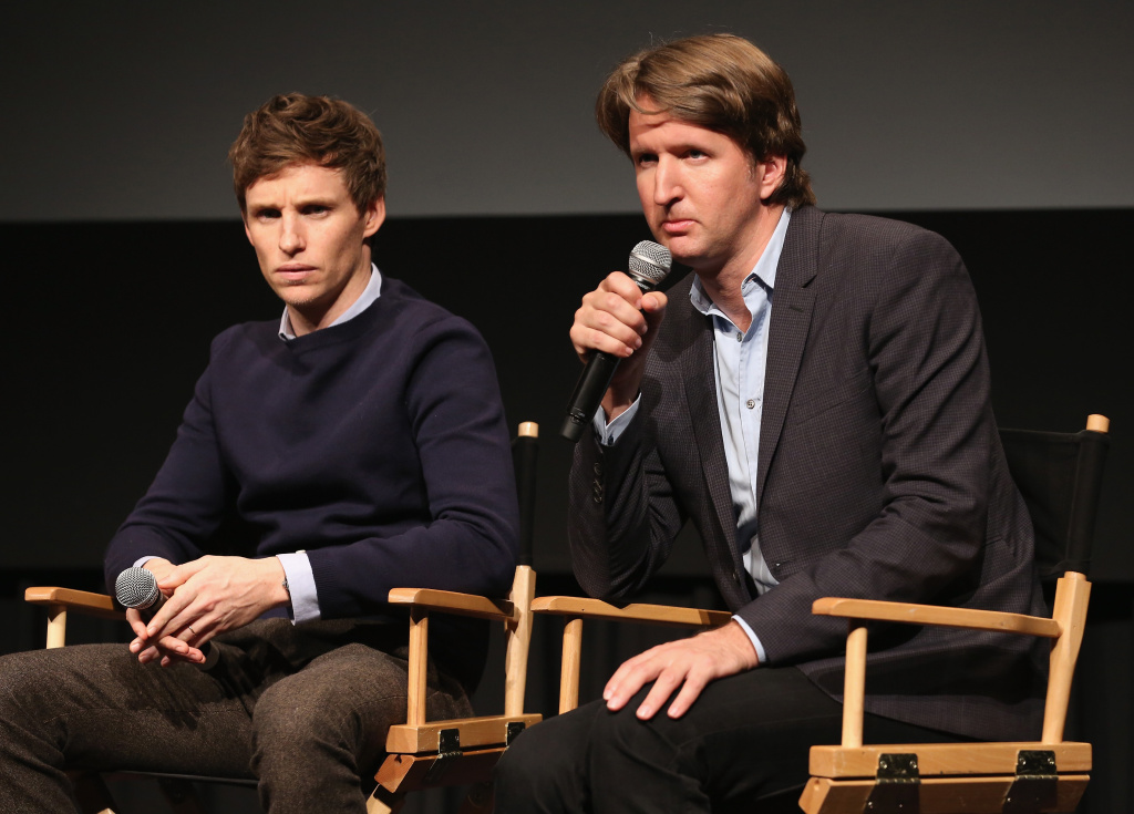 (Left to right) Eddie Redmayne and Tom Hooper attend a screening of 'The Danish Girl.' Hooper says that the film follows themes he's explored in previous movies, like the journey of discovering one's true self or a better version of one's self.