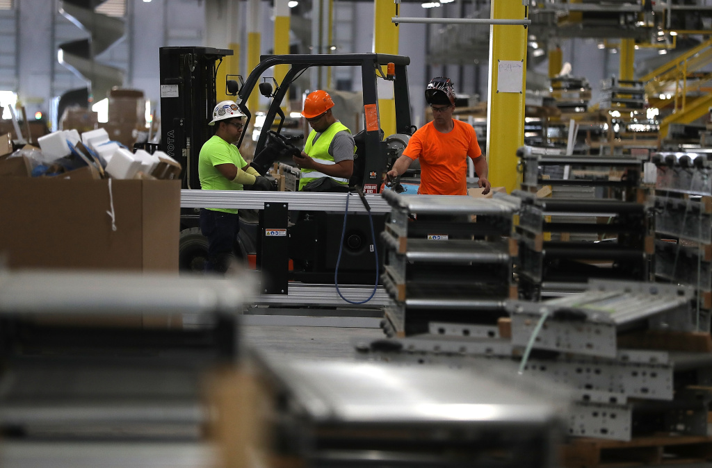An Amazon fulfillment center on August 10, 2017 in Sacramento, California. Warehouse employment grew more than 3% over the last year