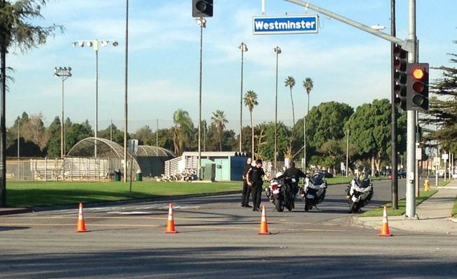 Students were evacuated after a bomb threat at Bolsa Grande High School in Garden Grove on Tuesday, Dec. 9, 2014.