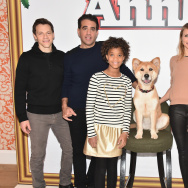 Director Will Gluck and Actors Bobby Cannavale, Quvenzhane Wallis, Sandy the Dog, Cameron Diaz and Jamie Foxx attend 'Annie' Cast Photo Call at Crosby Street Hotel.