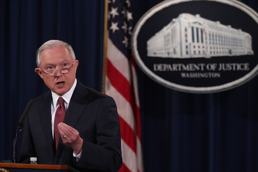 U.S. Attorney General Jeff Sessions speaks at the Justice Department on September 5, 2017.