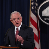 U.S. Attorney General Jeff Sessions speaks on immigration at the Justice Department September 5, 2017 in Washington, DC.