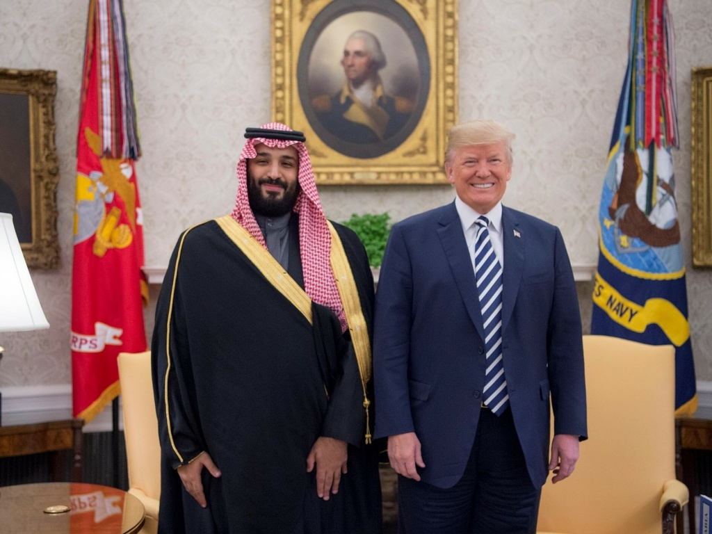 President Trump poses for a photo with Crown Prince Mohammed bin Salman in March 2018.