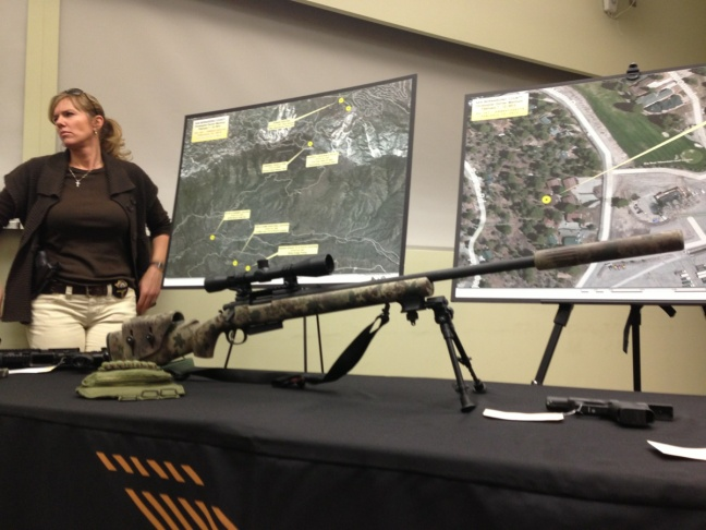 The sniper rifle recovered following the death of alleged murderer and ex-LAPD officer Christopher Dorner, shown at a press conference Friday, Feb. 15, 2013.