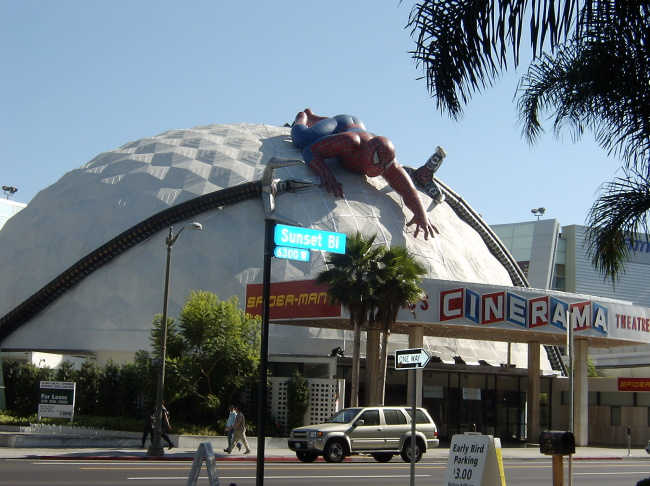 Exterior view of the Cinerama Dome movie theatre in Hollywood, California, June 1981.