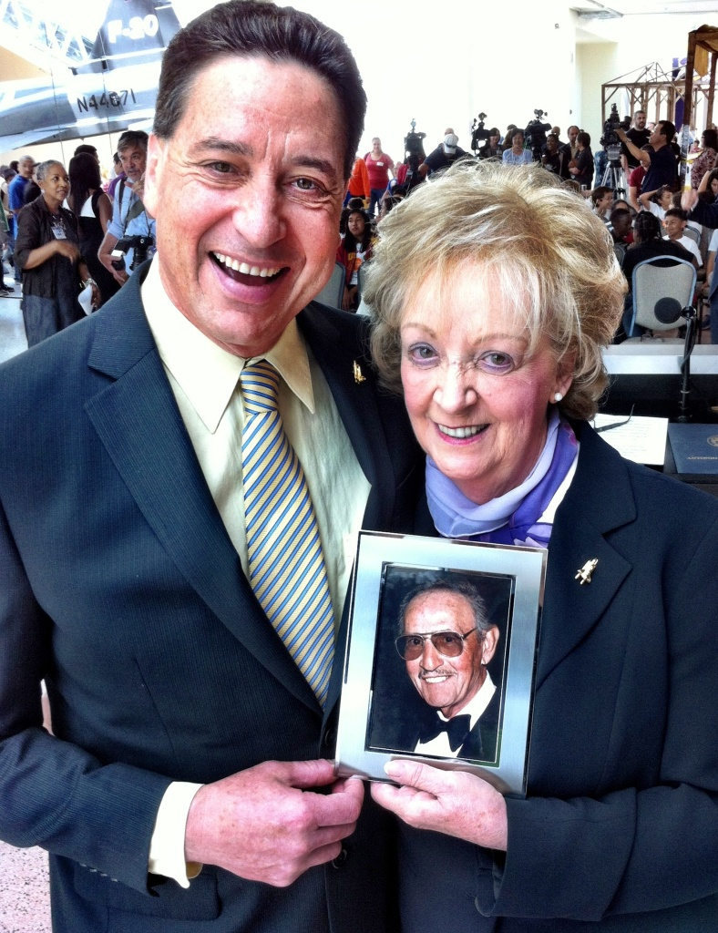 At the California Science Center, everybody was happy: President Jeff Rudolph, Lynda Oschin, and her late husband Samuel Oschin. The event: the naming of the Shuttle Endeavor's new home after Oschin.