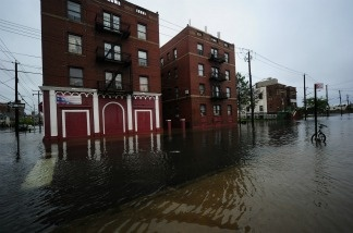 A street is flooded on Coney Island after Hurricane Irene hit, in New York, August 28, 2011.