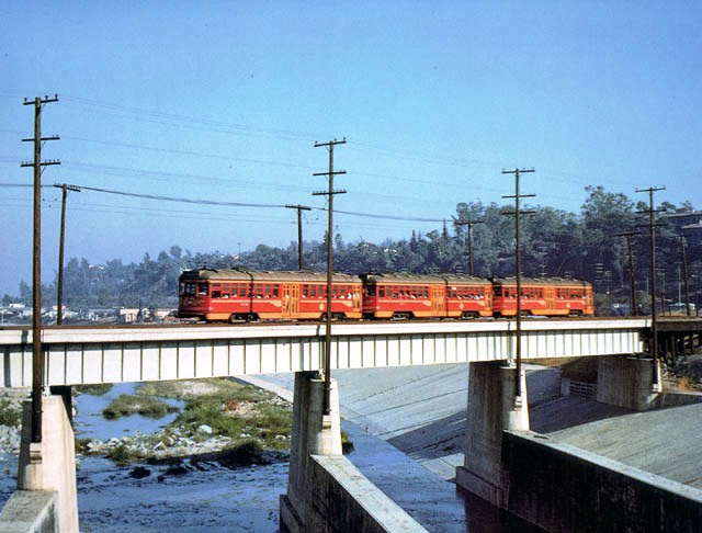 Pacific Electric Railway Company streetcar crossing the Los Angeles River on the Glendale Line on April 17, 1952.