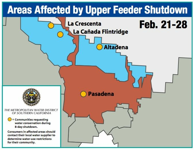 Foothill communities and the city of Pasadena are asking residents to save water through Thursday.