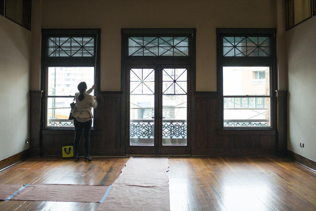 This space was formerly the banquet hall in the Italian Hall. These windows face out towards North Main Street. Renovations are almost completed for the Italian American Museum of Los Angeles, which will be housed in the hall.
