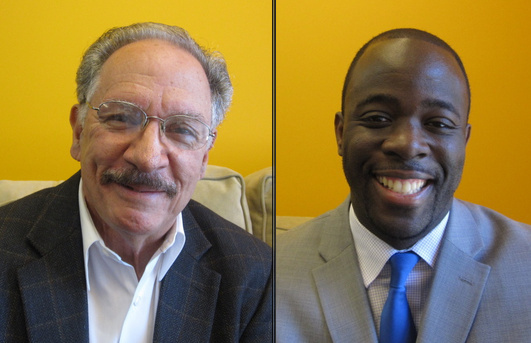 Alex Johnson (L) and George McKenna (R) are running to represent a swath of South Los Angeles at the LAUSD board.