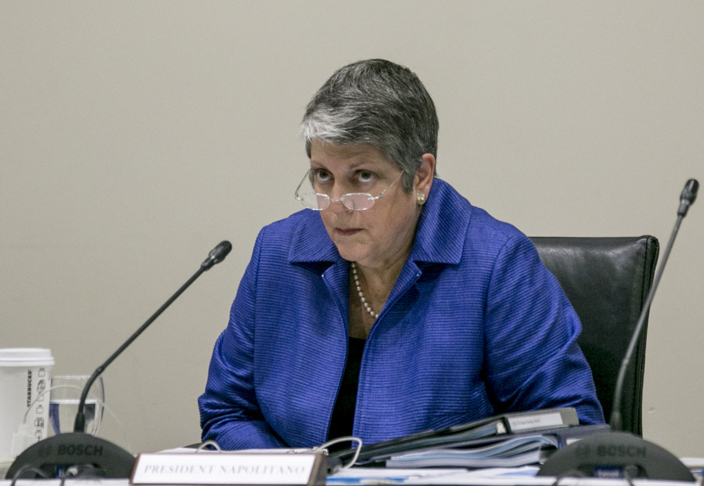 In this file photo, University of California President Janet Napolitano addresses a Board of Regents meeting at the UC Irvine Student Center to discuss a controversial policy statement on intolerance in Irvine, Calif., on Thursday, Sept. 17, 2015. The UC's first draft of system-wide principles defining intolerance drew protests from free-speech advocates who called it censorship and Jewish organizations that said it didn't go far enough to protect against anti-Semitism. A revised draft statement released Tuesday says