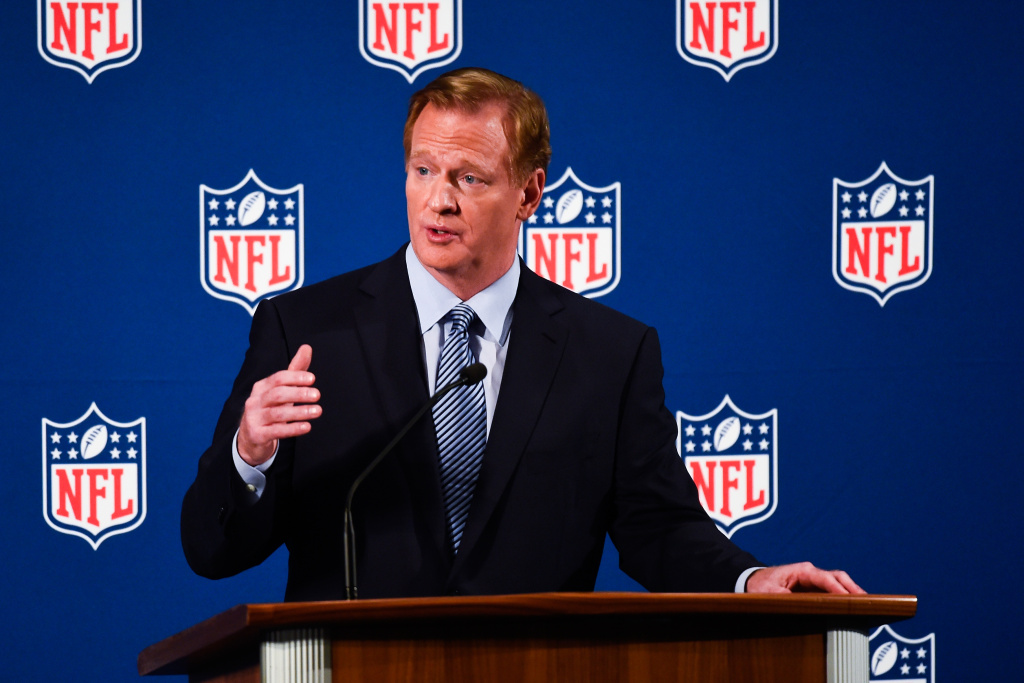 National Football League commissioner Roger Goodell speaks during a press conference on September 19, 2014 inside the New York Hilton Midtown in New York City. Goodell took the time to address personal conduct issues in the NFL.