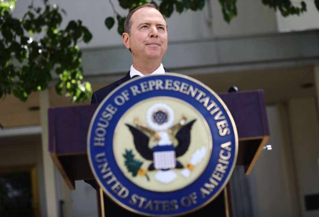 Chairman of the House Intelligence Committee Adam Schiff speaks at a press conference discussing yesterday's release of the redacted Mueller report on April 18, 2019 in Burbank, California.