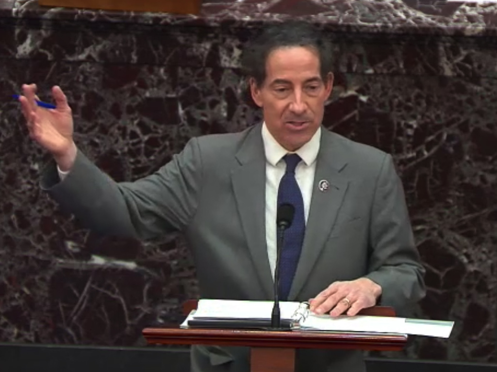 Rep. Jamie Raskin, D-Md., the lead house impeachment manager, speaks in the Senate on Wednesday. He argued former President Donald Trump incited the Jan. 6 attack on the U.S. Capitol and that his words are not protected by the First Amendment.