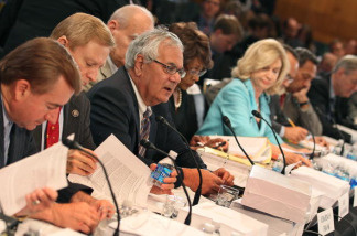 Chairman Rep. Barney Frank (D-MA) (C) participates in a Senate-House Conference Committee meeting on Capitol Hill, June 22, 2010 in Washington, DC. The Conference Committee is discussing the Senate and House versions of the financial regulatory reform bill in hopes of a compromise that both houses will accept.