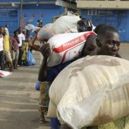 An Ebola quarantine area in Monrovia, Liberia, on Sunday.