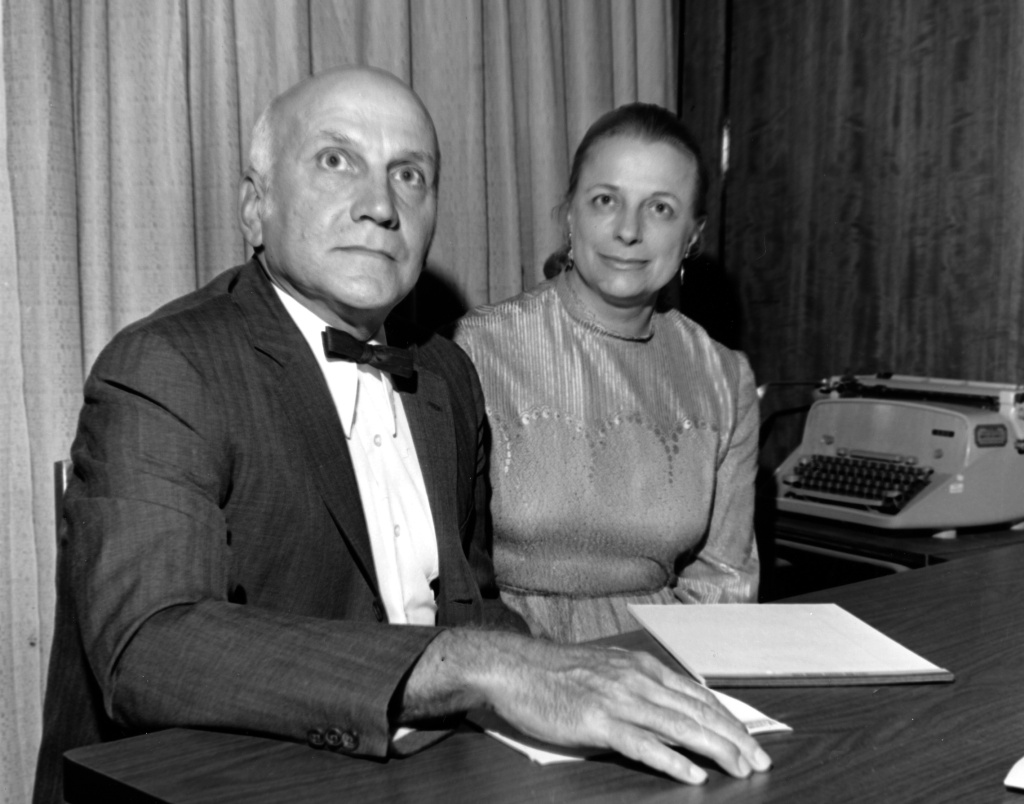 In this June 18, 1972 file photo, human sexuality researchers William H. Masters, M.D., and his wife, Dr. Virginia Johnson Masters, pose for a photo in San Francisco. Virginia Johnson's son, Scott Johnson, says his mother died Wednesday, July 24, 2013, at a St. Louis assisted living center. She was 88.