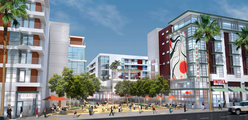 Artist's rendering of the Blvd6200 project in Hollywood, California.
