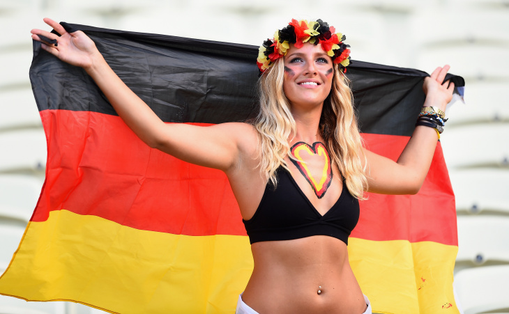 A Germany fan poses during the 2014 FIFA World Cup Brazil Group G match between Germany and Ghana at Castelao on June 21, 2014 in Fortaleza, Brazil.