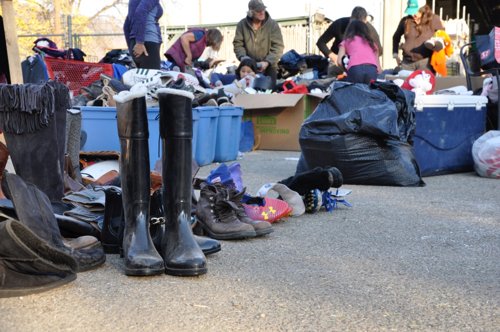 Visitors to the ad-hoc Thomas Fire aid station can take home donated shoes, clothing, food, kitchen appliances, dishes and even power tools.