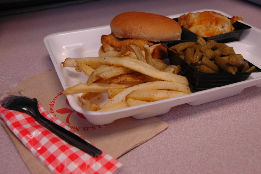 Styrofoam school lunch tray