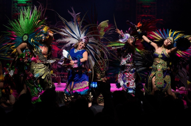 Dancers perform during Lucha Va Voom's Cinco de Mayan show at the Mayan Theatre in downtown Los Angeles on May 5, 2013.