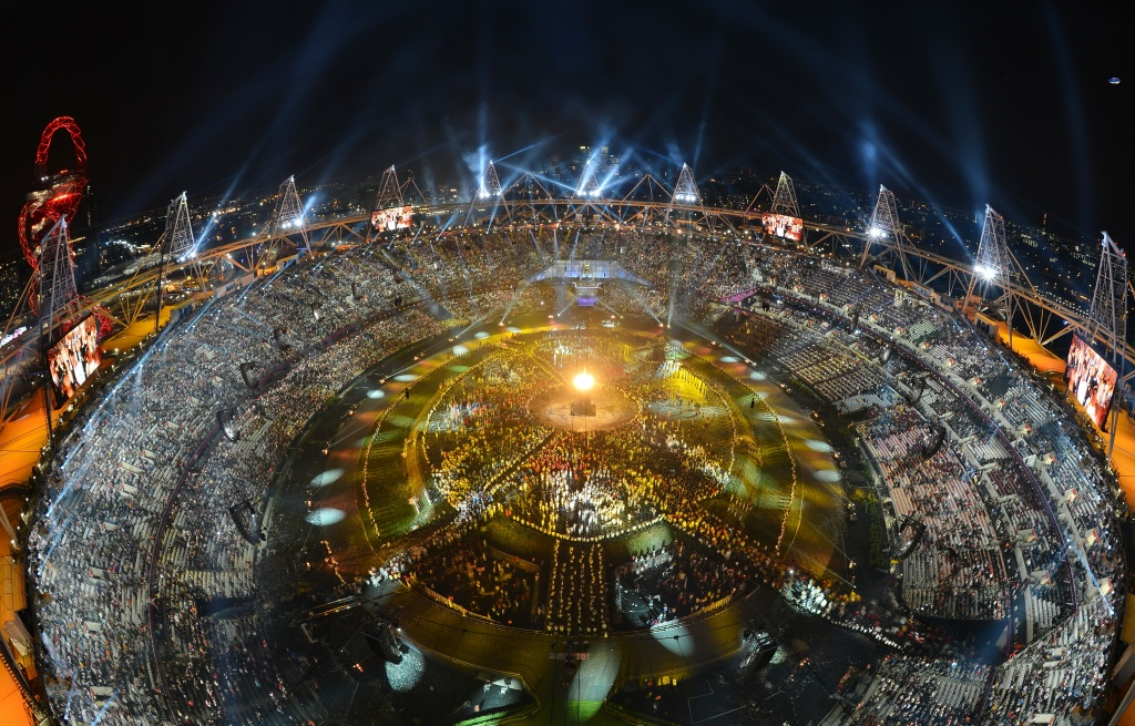 A general view of the opening ceremony of the London 2012 Olympic Games on July 27, 2012 at the Olympic Stadium in London.