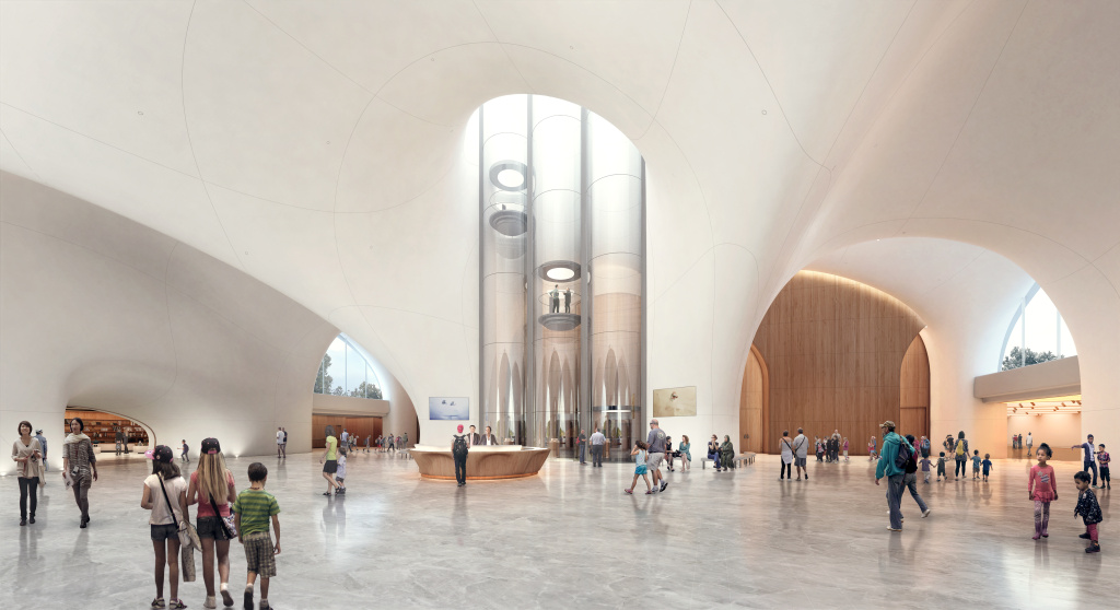 A rendering of the Lucas Museum lobby