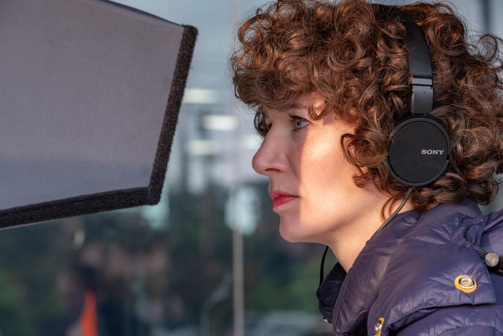 Director Miranda July on the set of
