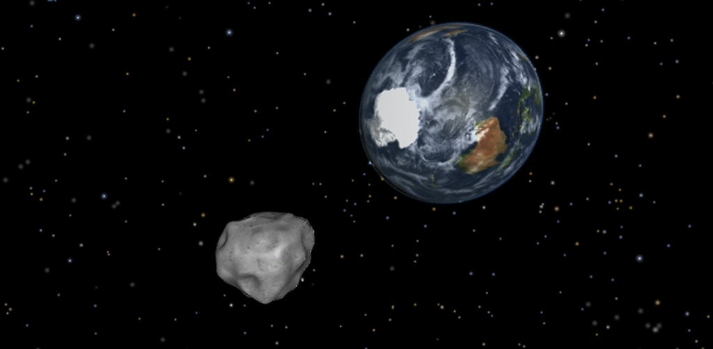 This image provided by NASA/JPL-Caltech shows a simulation of asteroid 2012 DA14 approaching from the south as it passes through the Earth-moon system on Feb. 15, 2013. The 150-foot object will pass within 17,000 miles of the Earth. NASA scientists insist there is absolutely no chance of a collision as it passes.