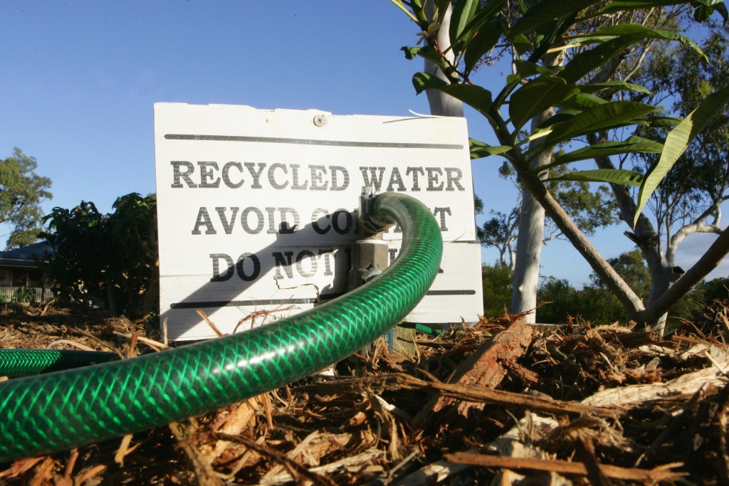 When it comes to drought, Australia often does it bigger, better, or before California. A sign is displayed in a suburban garden to notify that recycled water is in use on April 10, 2007 in Brisbane, Australia.