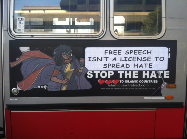 An image of Kamala Kahn, or Ms. Marvel, was pasted over anti-Islamic bus ads in San Francisco.