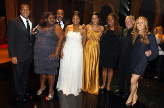 (L-R) Screenwriter Geoffrey Fletcher, actress Gabourey Sidibe, director Lee Daniels, actress Mo'Nique, actress Paula Patton, and producers Simone Sheffield, Gary Magness and Sarah Siegel-Magness of 'Precious: Based on the Novel 'Push' by Sapphire,' pose during the 41st NAACP Image awards held at The Shrine Auditorium on Feb. 26, 2010 in Los Angeles.