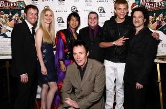 (L-R) Director J. Clay Tweel, magicians Krystyn Lambert, Bill Koch, Hiroki Hara, Lance Burton, Derek McKee and Producer Steven Klein attend a New York screening of 'Make Believe' at New York Friars Club.