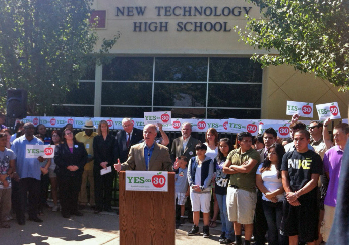 Gov. Jerry Brown launches the Prop 30 media campaign on Aug. 15, 2012.