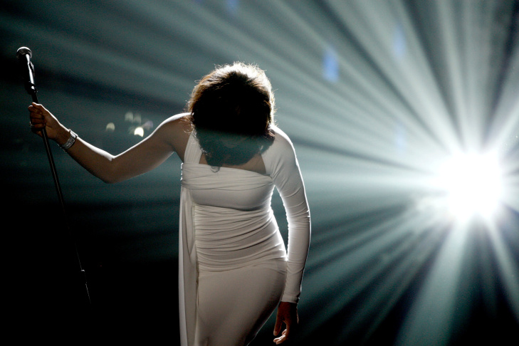 Artist Whitney Houston performs onstage at the 37th Annual American Music Awards on Nov. 22, 2009 in Los Angeles.