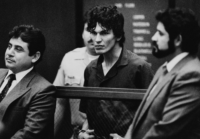 Richard Ramirez during a court appearance in Los Angeles, Ca., in October of 1985.
