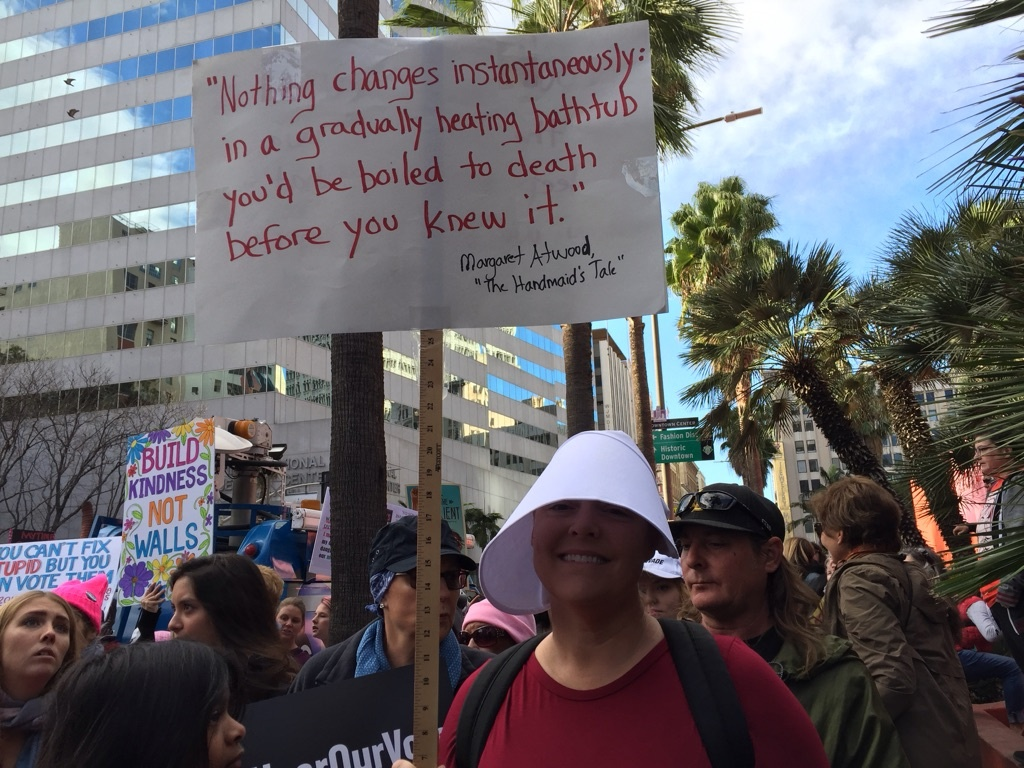 Demonstrators rally in downtown Los Angeles for a Women's March on Jan. 20, 2018.