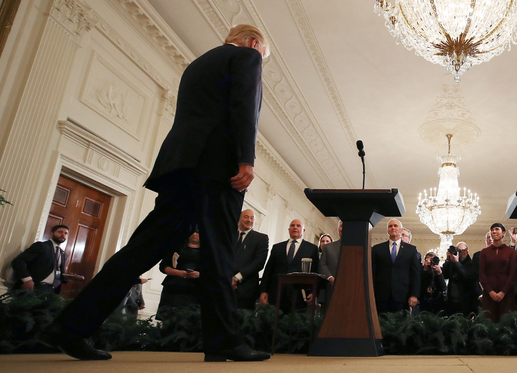 U.S. President Donald Trump walks up to speak to the media with Prime Minister Erna Solberg of Norway in the East Room at the White House, on January 10, 2018 in Washington, DC.