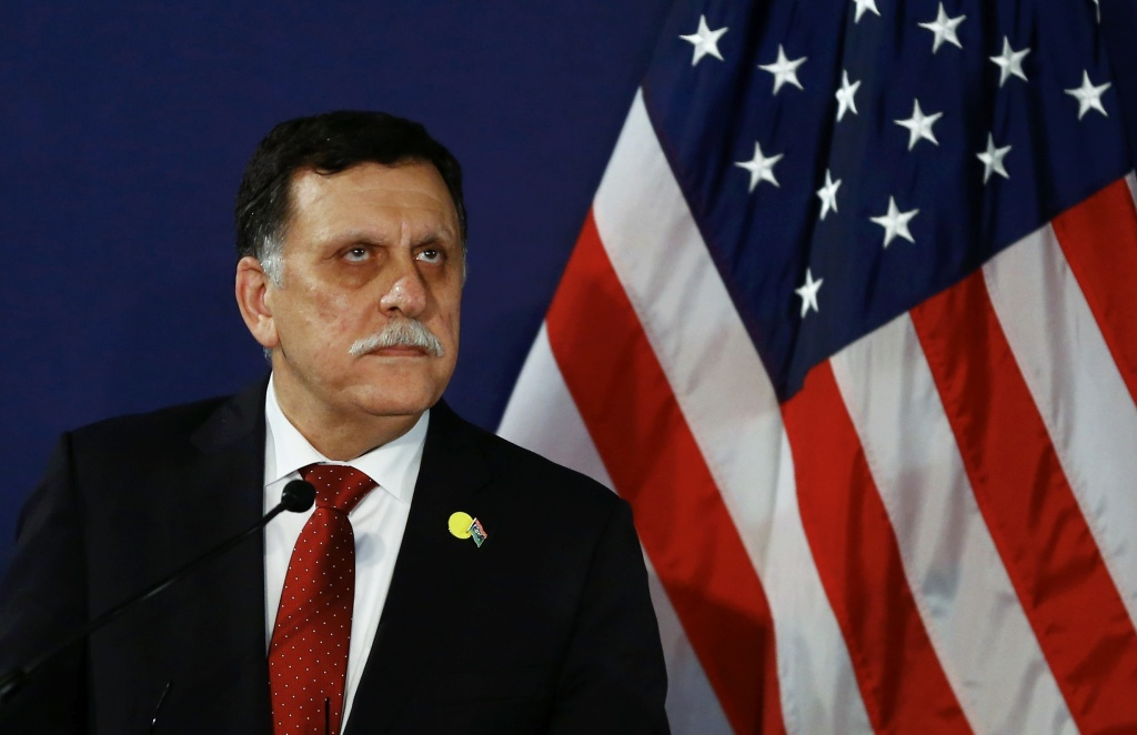 Libyan prime minister  Fayez Sarraj addresses a press conference on May 16, 2016 in Vienna, Austria.