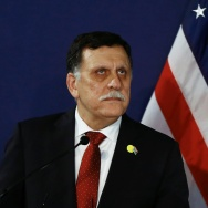 Libyan prime minister  Fayez al-Sarraj addresses a press conference on May 16, 2016 in Vienna, Austria.