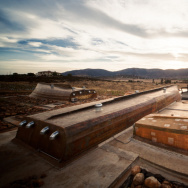 Architects Alejandro D'Acosta and Claudia Turrent incorporated materials salvaged from boats into the Vena Cava winery in Baja's Guadalupe Valley.