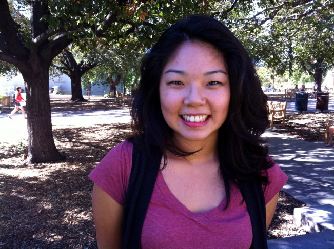 Kristy Plaza, 18, of Duarte says she supports President Obama because he supports the DREAM act and she likes the way he presents himself.