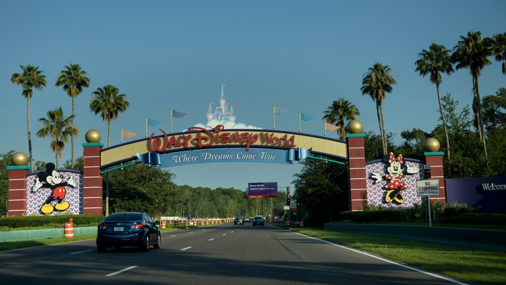 The entrance to the Walt Disney World theme park pictured in 2016. A man was arrested for camping on an abandoned island at the park.