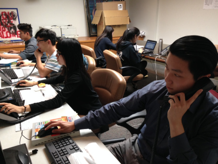 Volunteers at a phone bank organized by Asian Americans Advancing Justice in Los Angeles are trying to reach voters in 17 different languages.