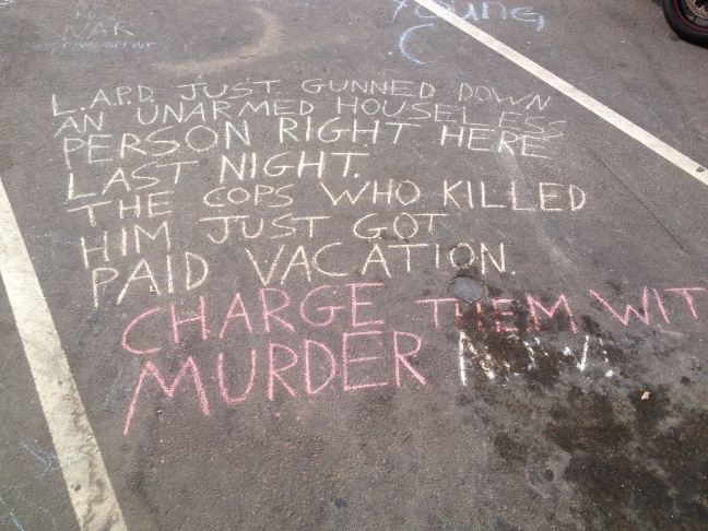 Chalk drawings near where an LAPD officer fatally shot Brendon Glenn, who was unarmed, on May 5, 2015.