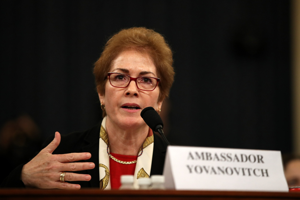 Former U.S. Ambassador to Ukraine Marie Yovanovitch testifies before the House Intelligence Committee in the Longworth House Office Building on Capitol Hill November 15, 2019 in Washington, DC.