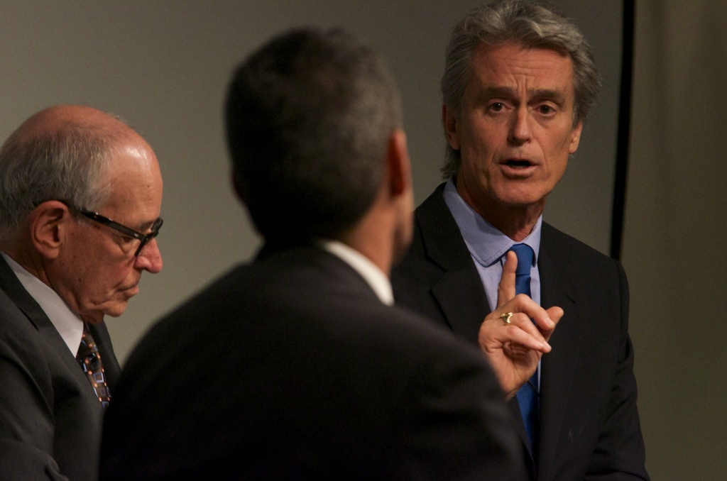 Board of Supervisors candidate Bobby Shriver, seen here at a recent debate, has the endorsement of the business-friendly and deep-pocketed L.A. Chamber of Commerce.